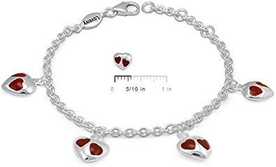 Girls Sterling Silver Purple//Red//Pink Enamel Heart Charms Adjustable Bracelet