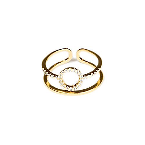 Gold Pave Ring Round (Jules Smith 14k Gold Ring for Women – Large Pave CZ Halo Ring with Adjustable Open Ends for Perfect Sizing – Real Gold Plated Cubic Zirconia Ring)