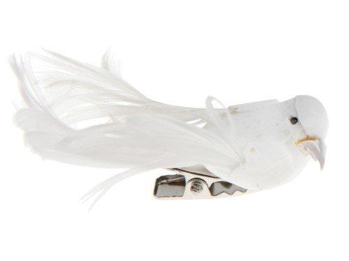 Deko-Vögel mit Clip weiß, 6,5 x 1,8 cm, 4 Stück, Tisch- und Raumdeko Gastgeschenke Baumschmuck