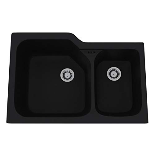 - Rohl 6337-63 FIRECLAY KITCHEN SINKS, 33-Inch by 22-Inch, Matte Black