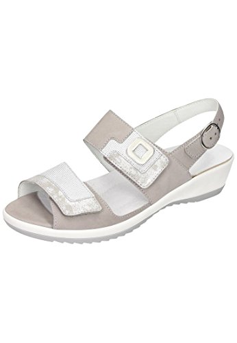 Sandalette Piel Waldläufer Sandalias gris de gris mujer de Waldläufer vestir Damen gris para FqxnZf