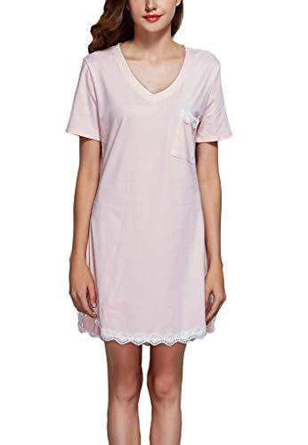 - GUANYY Sleepwear Womens Nightgown Cotton Sleep Shirt Dress Short Sleeve Lace V Neck Trim Soft Nightshirt(Misty Rose,Medium)