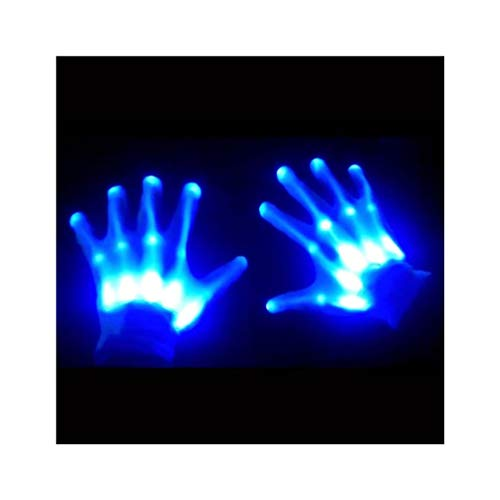 GlowCity Glow-In-the-Dark LED Skeleton Gloves – Flash or Static Light Up (Glowing Eyes Halloween)