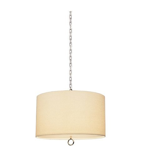 (Robert Abbey S657 Pendants with Off White Linen and Rolled Edge Hem Shades, Polished Nickel Finish )