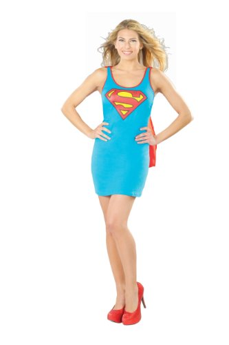 Rubie's DC Comics Justice League Superhero Style Adult Dress with Cape Supergirl, Blue, Medium (Supergirl Sexy Costume)