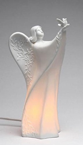 Appletree Design 33254 Lighted Ceramic Angel Holding Dove Figurine, 9-5/8-Inch ()