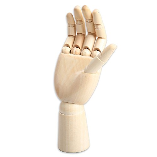 Yookat Art Mannequin, Wood Art Mannequin Hand Model - Perfect for Drawing, Sketch, etc.(Female Hand) 10 inch Wooden Sectioned Flexible Fingers Manikin Hand Figure Random Left or Right ()