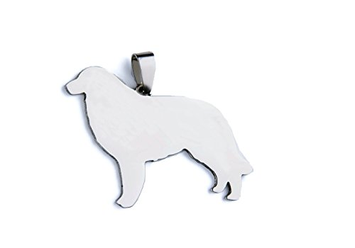 Stainless Steel Great Pyrenees Pyrenean Mountain Patou Chien des Silhouette Pet Dog Tag Breed Collar Charm Pendant Necklace -
