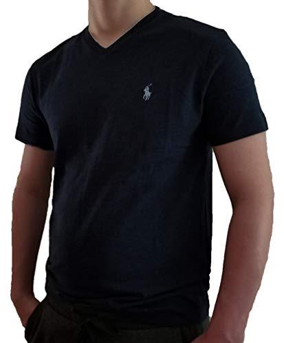 - Polo Ralph Lauren Men's Classic Fit V-Neck T-Shirt (Small, Black Navy HTHR/Madeira Silver)