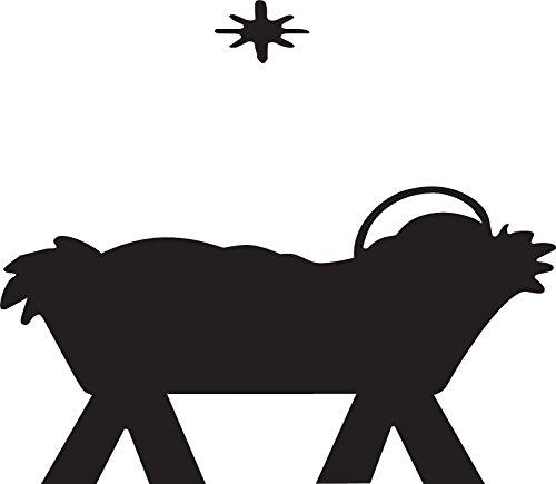 Manger Silhouette Vinyl Wall Art, Jesus Born In, Bethlehem, Decal, Creation Vinyls]()