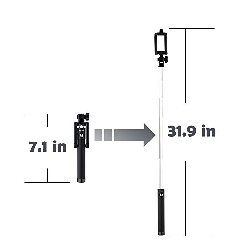 mpow selfie stick bluetooth isnap x extendable monopod with built in bluetoo. Black Bedroom Furniture Sets. Home Design Ideas