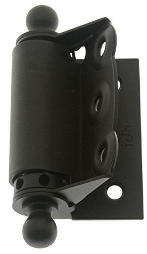 IDHBA 80320-10B Professional Grade Quality Solid Brass Half Surface Adjustable Spring Screen Door Hinges with Ball Finials (Pair) Oil-Rubbed Bronze
