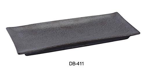 "Yanco DB-411 Diamond Black Collection 10.5"" X 4.375"" Rectangular Plate, Matte Glaze (Pack of 24)"