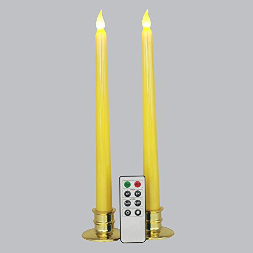 Set of 2 Remote Flameless Yellow Wax Flickering Taper Candle with Candle Holder