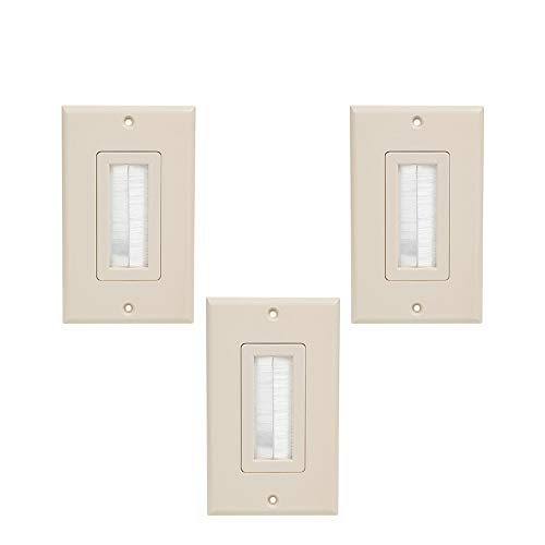 HONGYE Wall Plate 3-Pack, Easy to Install, For Speaker HDMI Network Phone Cables Home Theater Systems Pass Through Insert (Ivory)