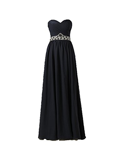 Black Chiffon Sweetheart Beading (NOVIA Women's Sweetheart Beading Black Long Chiffon Bridesmaid Evening Dresses (14))