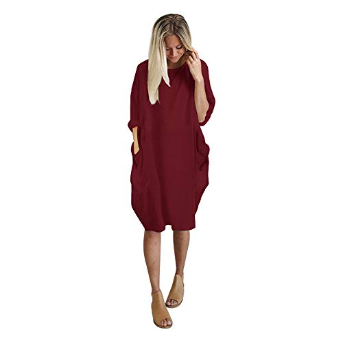 Dresses for Women Party Wedding,Mlide Casual Long Tops Dress Plus Size Pocket Loose Dress Ladies Crew Neck,Wine XL