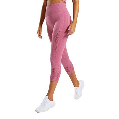 JOFOW Capri Leggings for Women Solid Hollow Net Breathable Midi Waist Pants Skinny Stretch Workout Sport Yoga Crop Trousers (L,Pink)]()