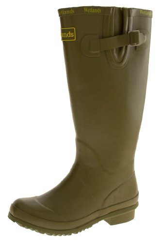 Wetlands Womens Green Waterproof Rubber Wellington Boots US (Waterproof Wellington Pull)