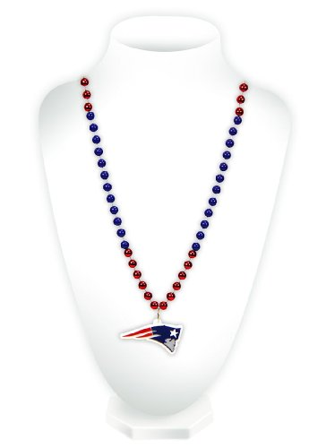NFL New England Patriots Beads with Logo Medallion (Medallion Colored Bead Necklace)