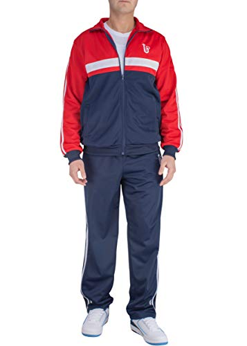 Vertical Sport Men's 2 Piece Jacket Pants Track Suit JS14 (Large, Navy/Red/White)