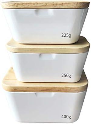 バターディッシュ、石器セラミックバターディッシュバターコンテナマーガリンディッシュカバー付きバターキーパー木製ふたフード収納ボックスbesbomig