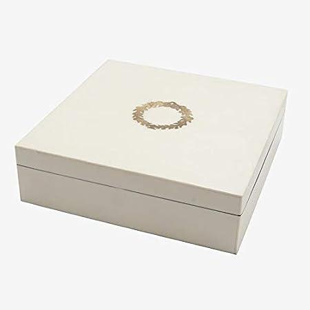 Better & Best 1224942 Caja cuadrada madera blanca y corona de ...