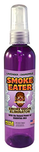 Smoke Eater - Breaks Down Smoke Odor at The Molecular Level - Eliminates Cigarette, Cigar or Pot Smoke On Clothes, in Cars, Boats, Homes, and Office - 4 oz Travel Spray Bottle (Lavender) ()