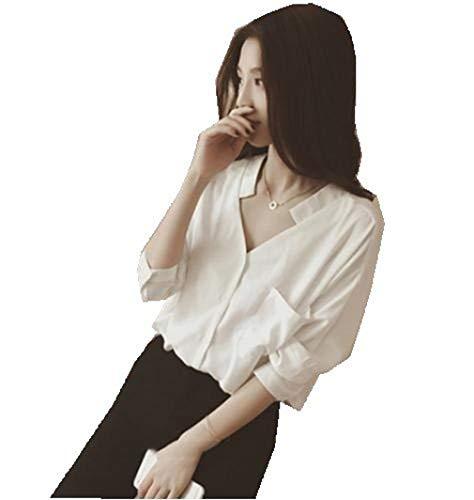 ずらす醜いファームきれいめ ブラウス スキッパ― シャツ シンプル 抜き襟 セクシー レディース ホワイト【Mサイズ】