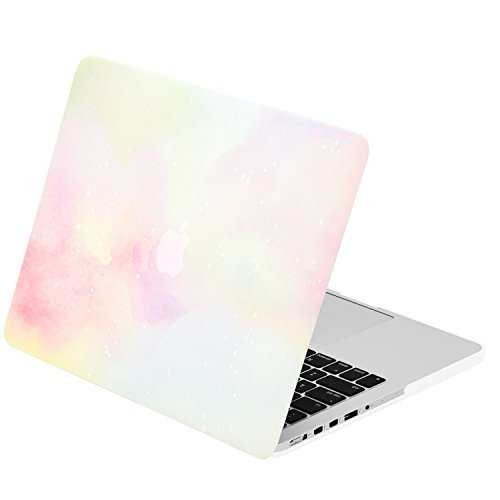 Cotton Candy Dot - TOP CASE - Watercolor Art Series Rubberized Hard Case Compatible with Apple MacBook Pro 15