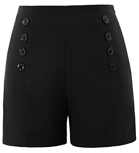 Belle Poque Women's Slim Straight Leg Shorts 8 Button Decorated Black, X-Large