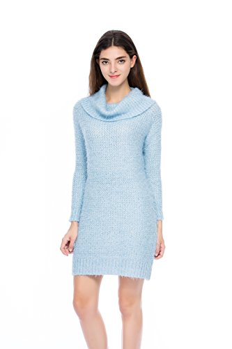 Lacle Juniors Polo Neck Pullover Long Winter Sweater Dress (Blue Medium)