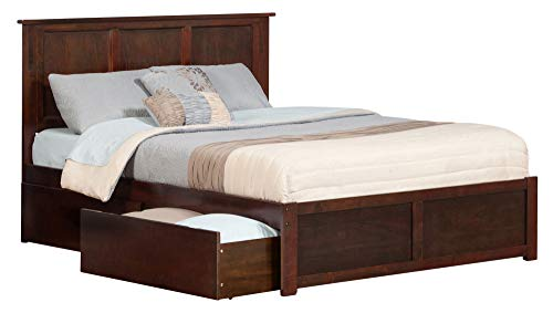 Atlantic Furniture AR8642114 Madison Platform Bed with 2 Urban Bed Drawers, Queen, Walnut ()