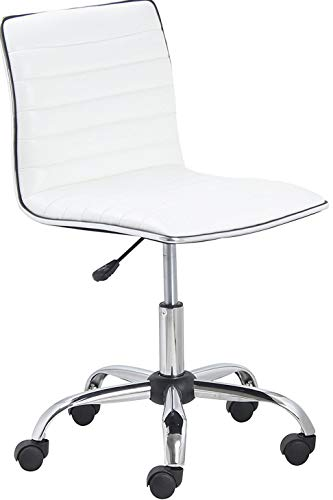 Leather Armless - BTExpert Swivel Mid Back Armless Ribbed Designer Task Chair Leather Soft Upholstery Office Chair - White (Renewed)