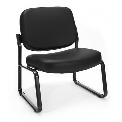 Big and Tall Vinyl Armless Guest / Reception Chair Seat / Back Color: Black by OFM