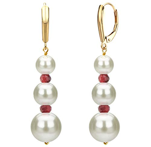 Graduated Freshwater Cultured White Pearl and Simulated Red Ruby Lever-back Earrings in 14k Yellow ()