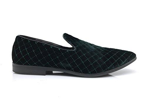 Enzo Romeo Harell05 Mens Vintage Velluto Scarpe Da Sera Classico Smoking Slip On Mocassini Green_harell01
