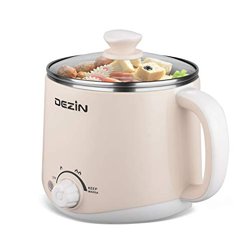 Dezin Electric Hot Pot, Rapid Noodles Cooker, Stainless Steel Mini Pot Perfect for Ramen, Egg, Pasta, Dumplings, Soup, Porridge, Oatmeal with Temperature Control and Keep Warm Feature, 1.6L, Khaki
