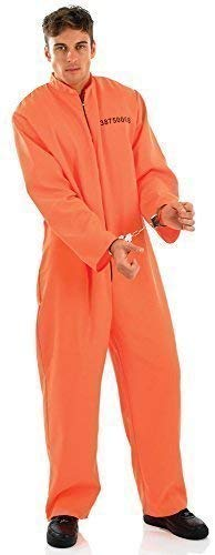 Mens Orange Jumpsuit Boiler Suit Prisoner Convict Death Row Halloween Fancy Dress Costume Outfit Medium-XL (Extra Large)]()
