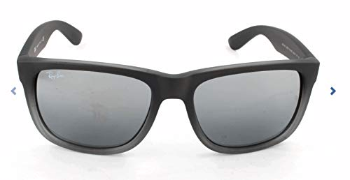 Ray-Ban RB4165 Justin Rectangular Sunglasses, Rubber Grey & Grey Transparent/Silver Gradient Mirror, 54 mm