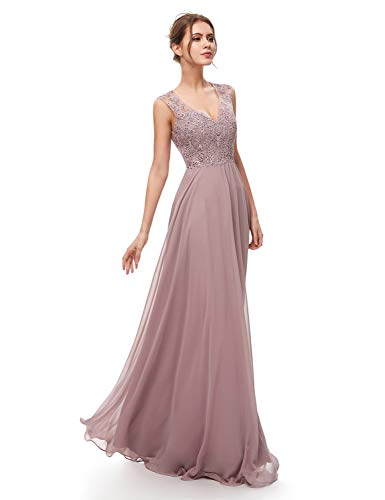 Belle House Women's Long Prom Dresses Sexy Backless V Neck Evening Ball Gowns Lace Chiffon A Line Party Dress Mauve ()