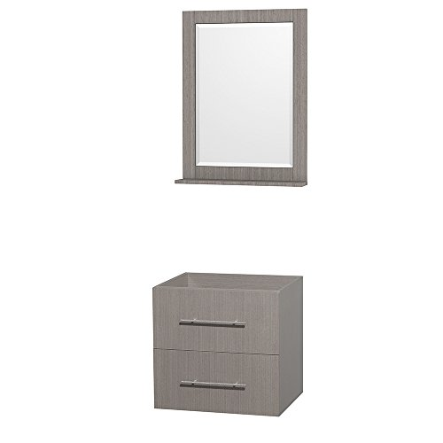 UPC 799559217938, Wyndham Collection Centra 24 inch Single Bathroom Vanity in Grey Oak, No Countertop, No Sink, and 24 inch Mirror