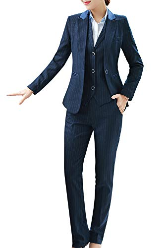 Women's Three Pieces Office Lady Stripe Blazer Business Suit Set Women Suits Work Skirt/Pant,Vest Jacket (BlueKZ-9006, XS) (Ladies Skirt Sets)
