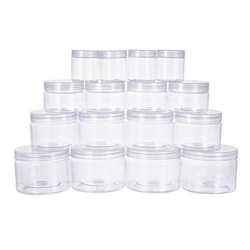 BENECREAT 16 Pack 3/6/11/17oz Slime Storage Favor Jars Clear Empty Wide-Mouth Plastic containers with Clear lids for DIY Slime Making - 4x3