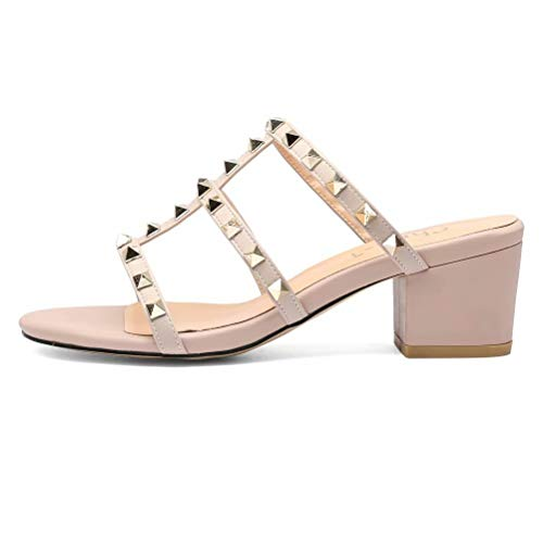 Chris-T Chunky Heel Party Dress Sandals Leather 2 Inches Low Block Heel Shoes Open Toe Studded Pumps for Women Beige Size 7