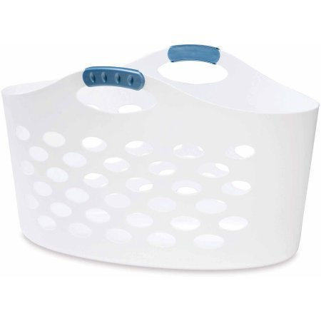 Flex 'N Carry Basket, WHITE LAUNDRY BAKSET