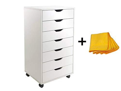 Winsome Halifax 7-Drawer Cabinet for Closet/Office (White) + Free Cleaning Dust Cloth ()