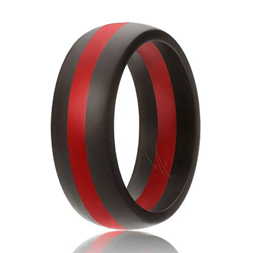 ROQ Silicone Wedding Ring for Men, Silicone Rubber Band - Black with Red Thin Line Stripe, Size 12