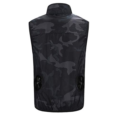 - SOWU Cooling Tank Top, Summer Outdoor Sun Protection Air Circulation Breathable Vest T-Shirt with Mini Electric Fan Air (Camouflage, XL)