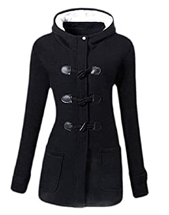 Macondoo Women's Overcoat Wool-Blend Toggle Hooded Winter Pea Coat Black X-Small